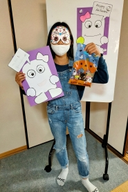 Instead of lending costumes this year, we made masks for all of the students to choose from and take home.